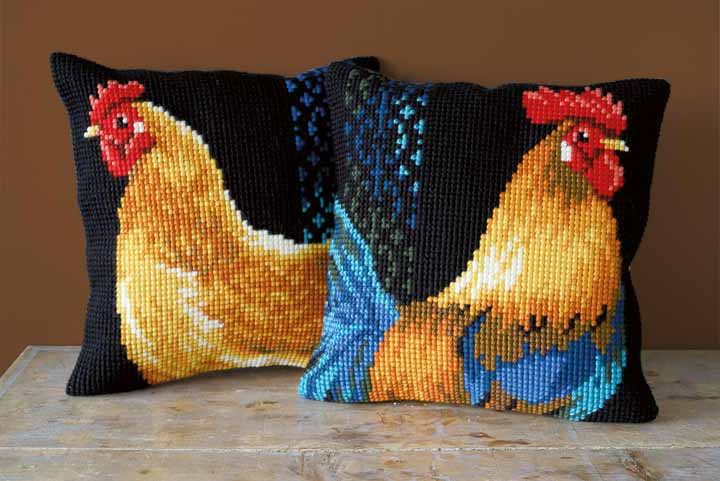 Vervaco Cross Stitch Cushion Kit: Rooster Birds CSCK