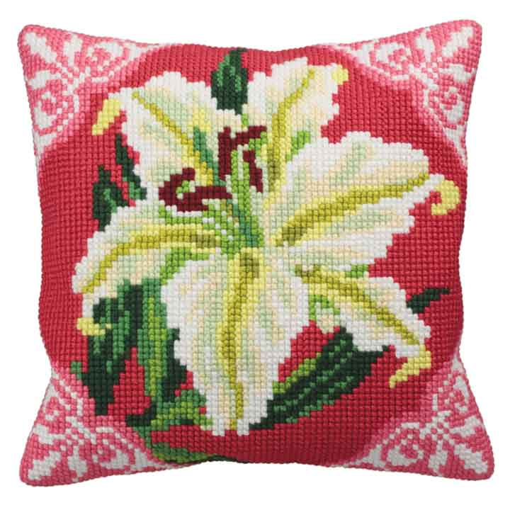 Collection D Art Cross Stitch Cushion: White Lily Flowers & Nature CSCK