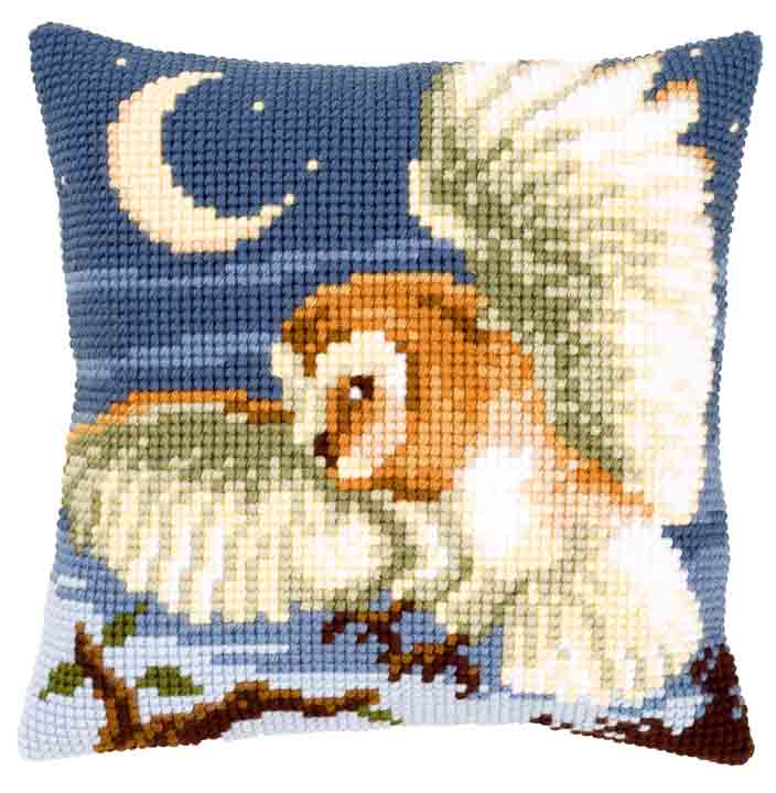 Vervaco Cross Stitch Cushion: Owl Flowers & Nature CSCK