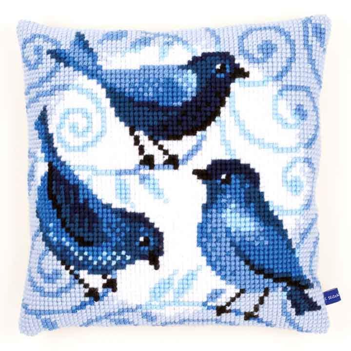Vervaco Cross Stitch Cushion: Blue Birds Birds CSCK