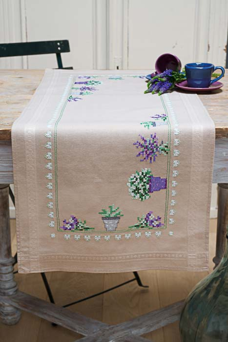 Vervaco Counted Cross Stitch Kit: Runner: Lavender | PN_0165726 Flowers & Nature CSK