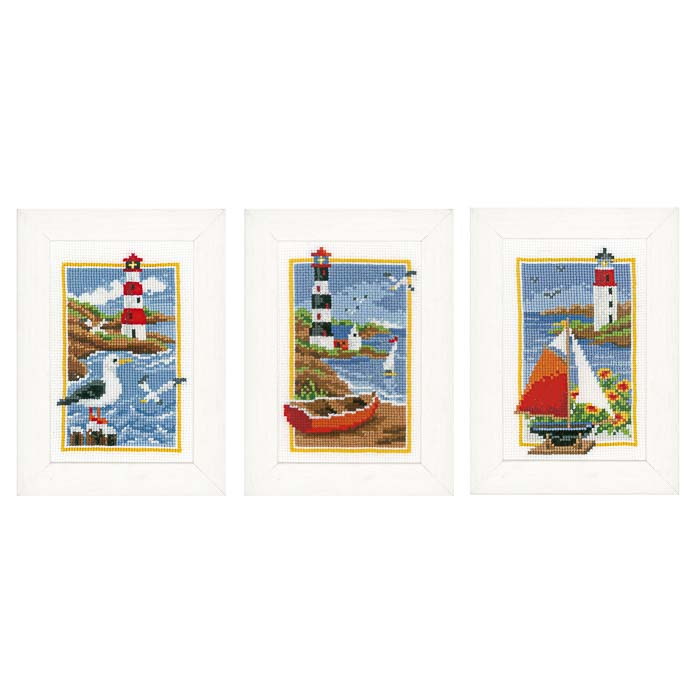 Vervaco Counted Cross Stitch Kit: Lighthouse: Set of 3 | PN_0158159 Buildings CSK