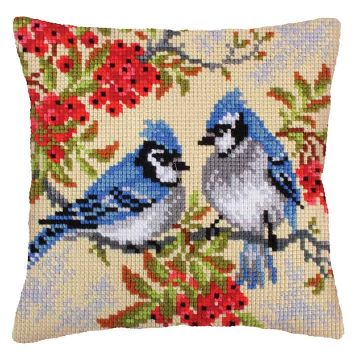 Collection D Art Cross Stitch Cushion: Blue Jays