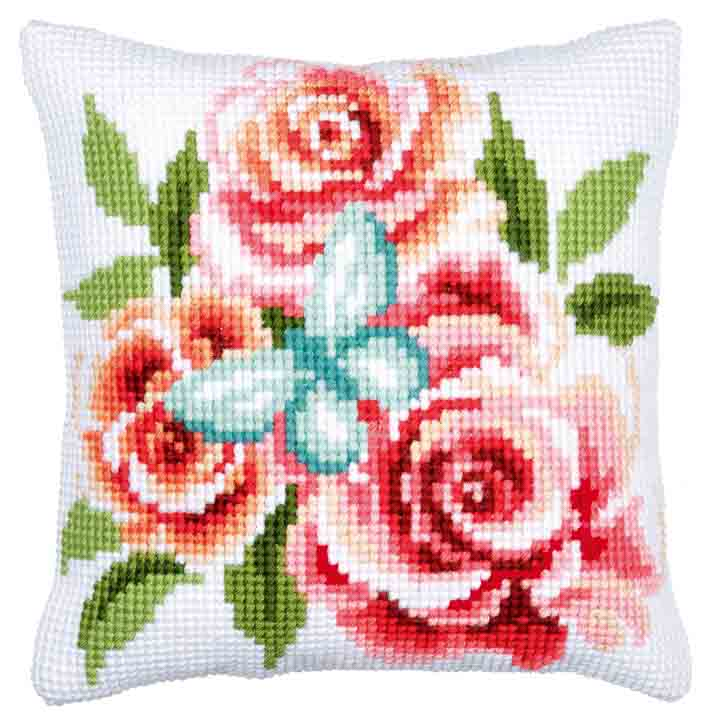 Vervaco Cross Stitch Cushion: Butterfly & Roses Insects & Bugs CSCK