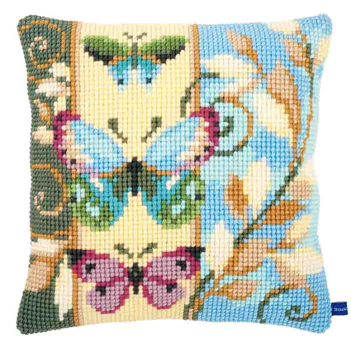Vervaco Cross Stitch Cushion: Deco Butterflies Insects & Bugs CSCK