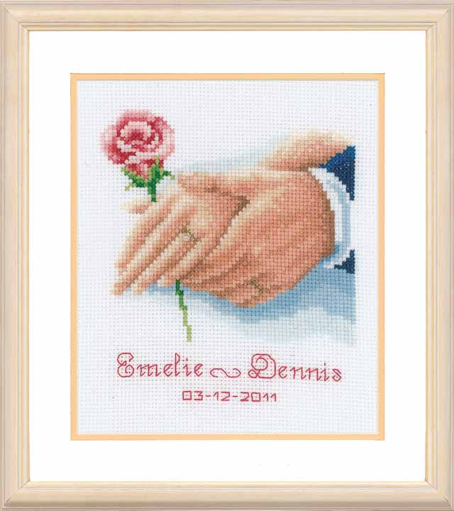 Vervaco Counted Cross Stitch Kit: Wedding Record: Holding Hands