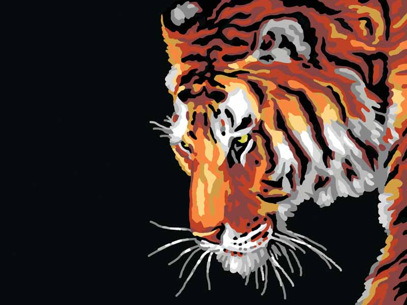 Collection D Art Printed Tapestry Canvas: Tiger