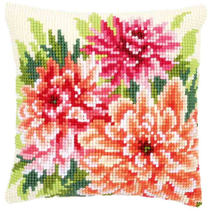 Vervaco Cross Stitch Cushion: Pink Dahlias Flowers & Nature CSCK