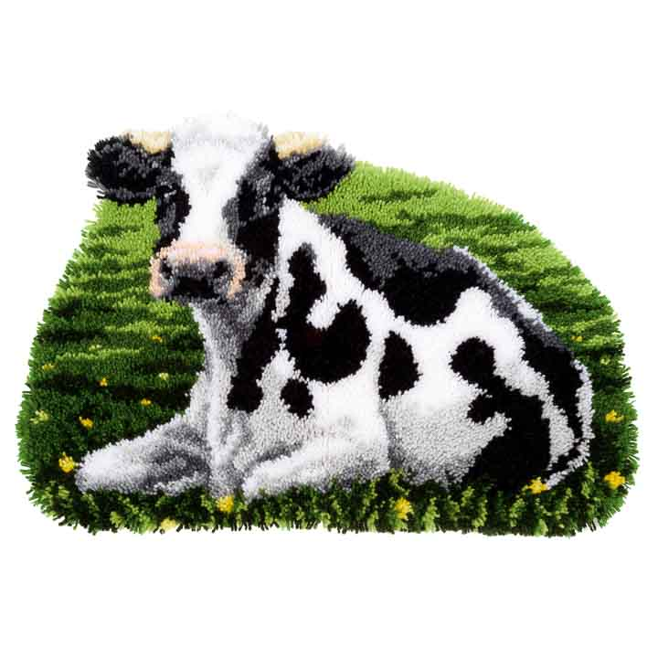 Vervaco Latch Hook Kit: Rug: Shaped: Cow Resting Latch Hook Rug & Wall Hanging Kit