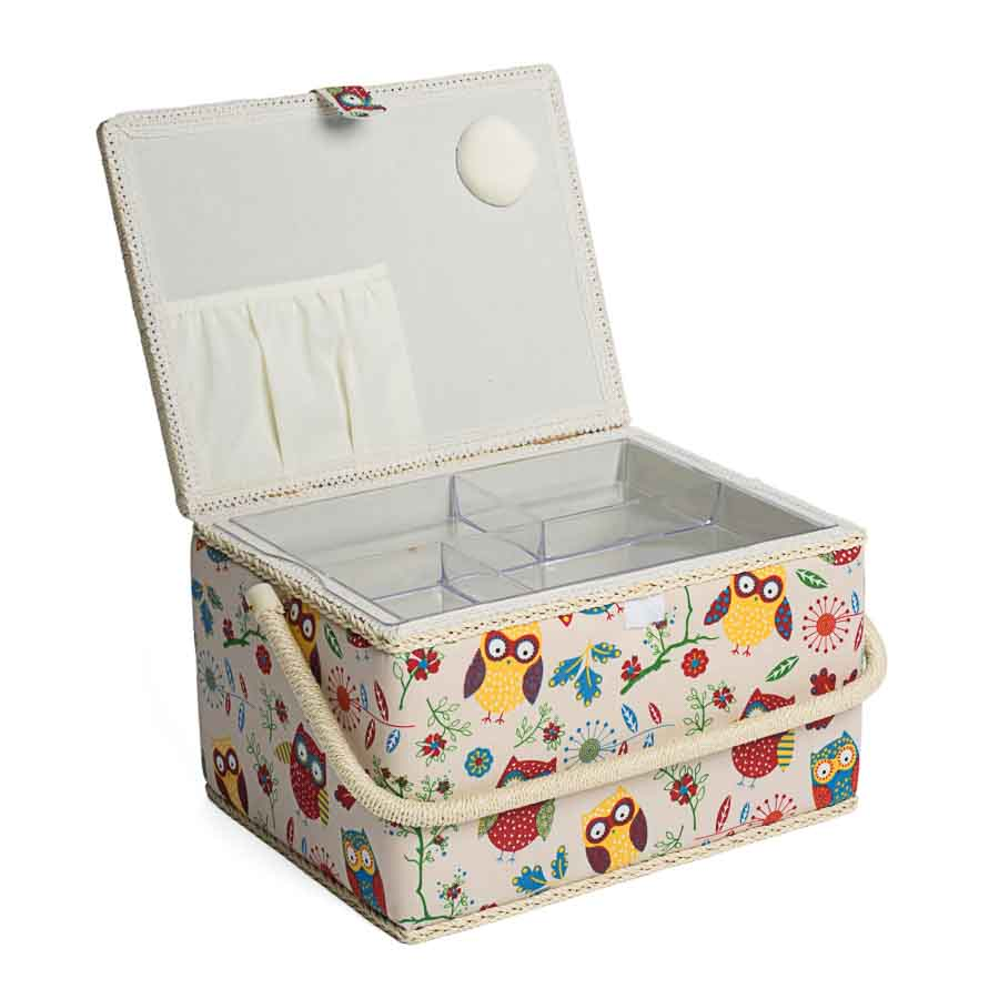 HobbyGift Sewing Box (L): Rectangle: Owl | MRL_29 Bird Print Sewing Box 2