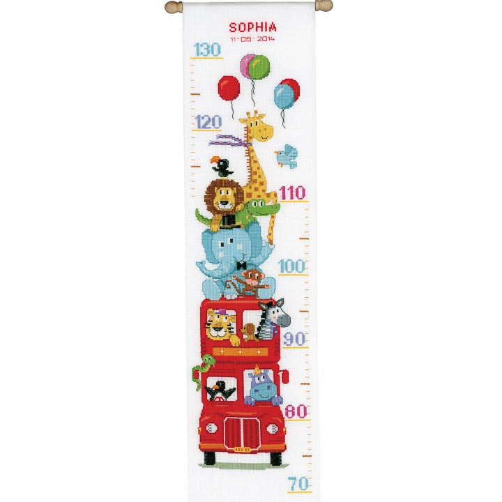 Vervaco Counted Cross Stitch Kit: Height Chart: Funny Bus Height Charts CSK