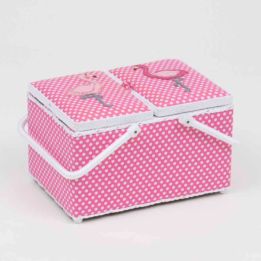 HobbyGift HGTLR_324 | Classic Collection | Twin Lid Rectangular Box Applique | Flamingos Bird Print Sewing Box