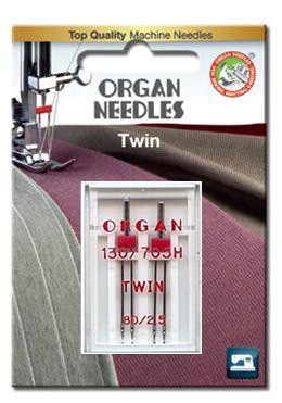 Organ Twin Needles | Size 80 / 2.5 | 2 Needles Per Pack