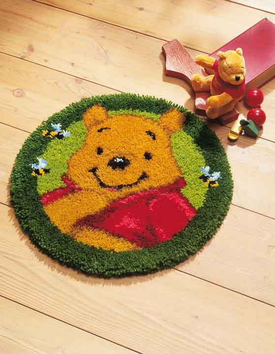 Vervaco Latch Hook Kit: Shaped Rug: Winnie The Pooh Latch Hook Rug & Wall Hanging Kit