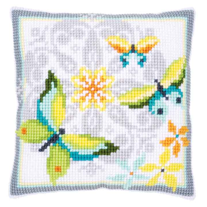Vervaco Cross Stitch Cushion Kit: Butterflies & Flowers Insects & Bugs CSCK