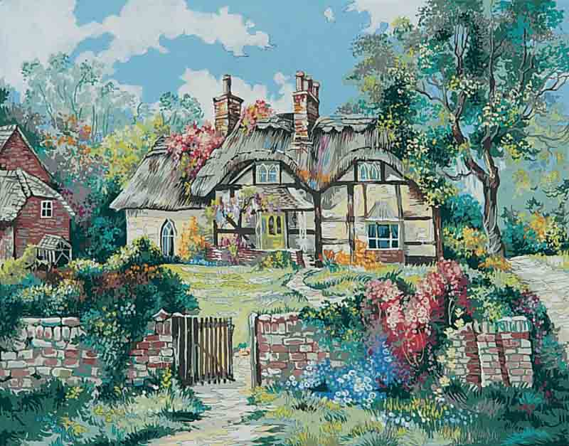 Collection D Art Printed Tapestry Canvas: Ginger Cottage, (Marty Bell) Scenery PTC