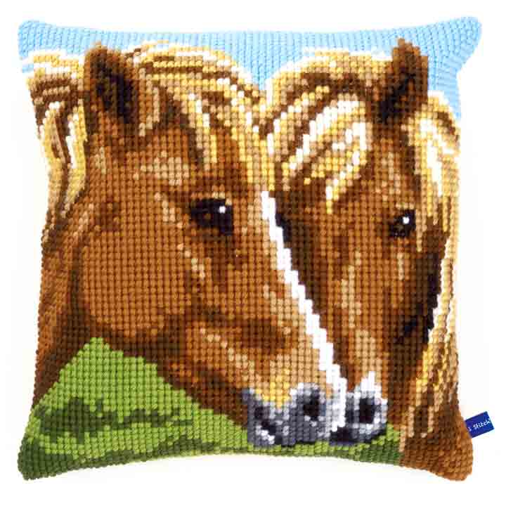 Vervaco Cross Stitch Cushion: Horses