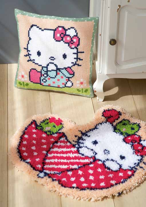 Vervaco Latch Hook Rug: Hello Kitty: In the Umbrella Latch Hook Rug & Wall Hanging Kit