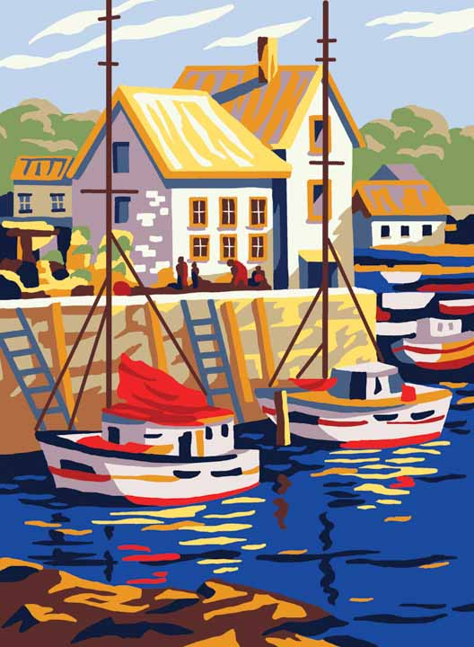Collection D Art Printed Tapestry Canvas: Boats in Small Port