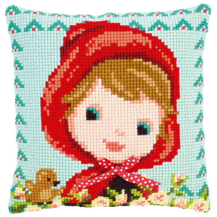 Vervaco Cross Stitch Cushion: Red Riding Hood with Bow