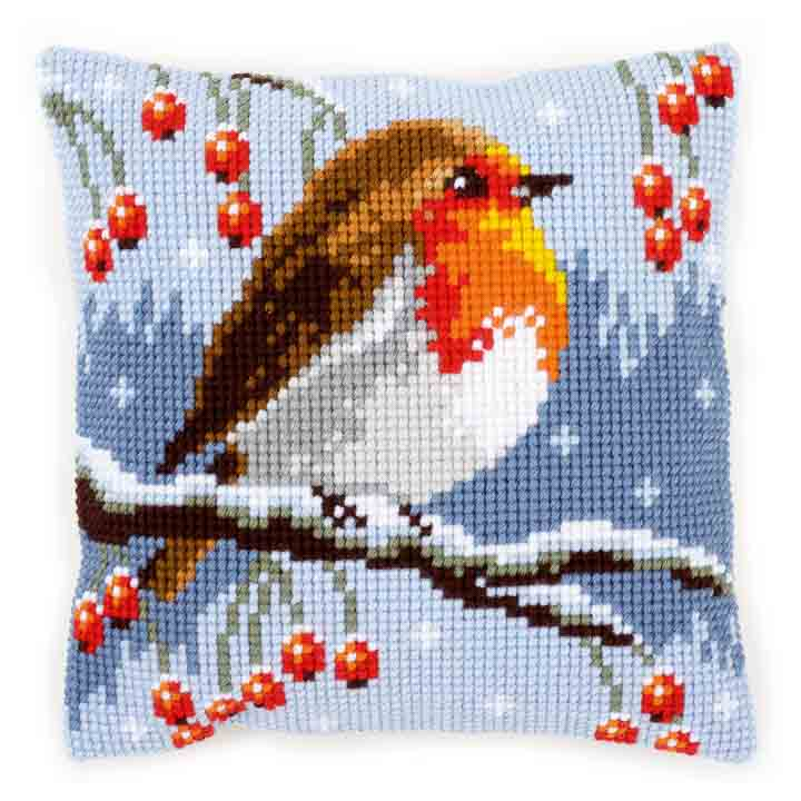 Vervaco Cross Stitch Cushion: Red Robin in the Winter Birds CSCK