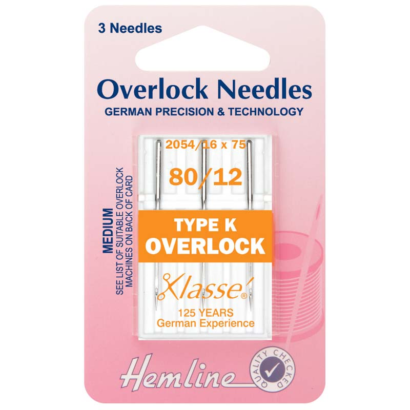 Hemline Overlock/Serger Machine Needles: Type K: 80/12: 3 Pieces