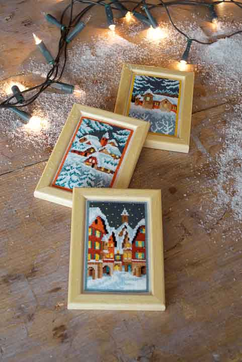 Vervaco Counted Cross Stitch Kit: Miniatures Winter Night (Set of 3)