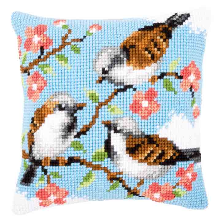 Vervaco Cross Stitch Cushion: Birds Between Flowers