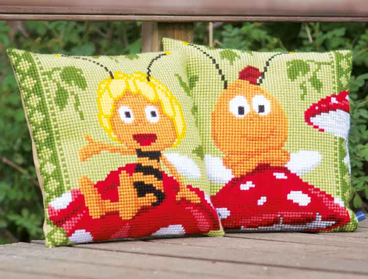 Vervaco Cross Stitch Cushion: Maya: Willy on Mushroom Insects & Bugs CSCK