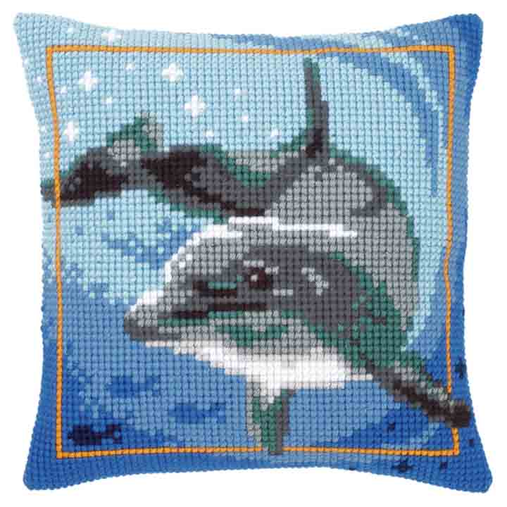 Vervaco Cross Stitch Cushion: Dolphin