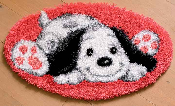 Vervaco Latch Hook Shaped Rug: Puppy Latch Hook Rug & Wall Hanging Kit
