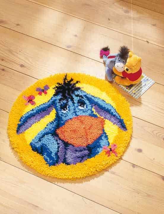Vervaco Latch Hook Kit: Shaped Rug: Eeyore Latch Hook Rug & Wall Hanging Kit