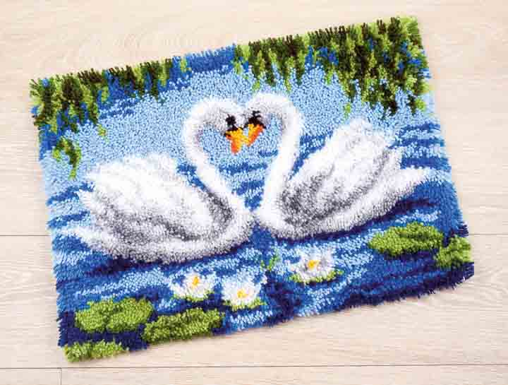 Vervaco Latch Hook Rug Kit: Swans Latch Hook Rug & Wall Hanging Kit