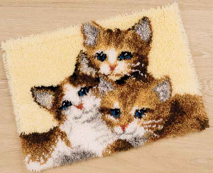 Vervaco Latch Hook Rug Kit: Three Kittens Latch Hook Rug & Wall Hanging Kit