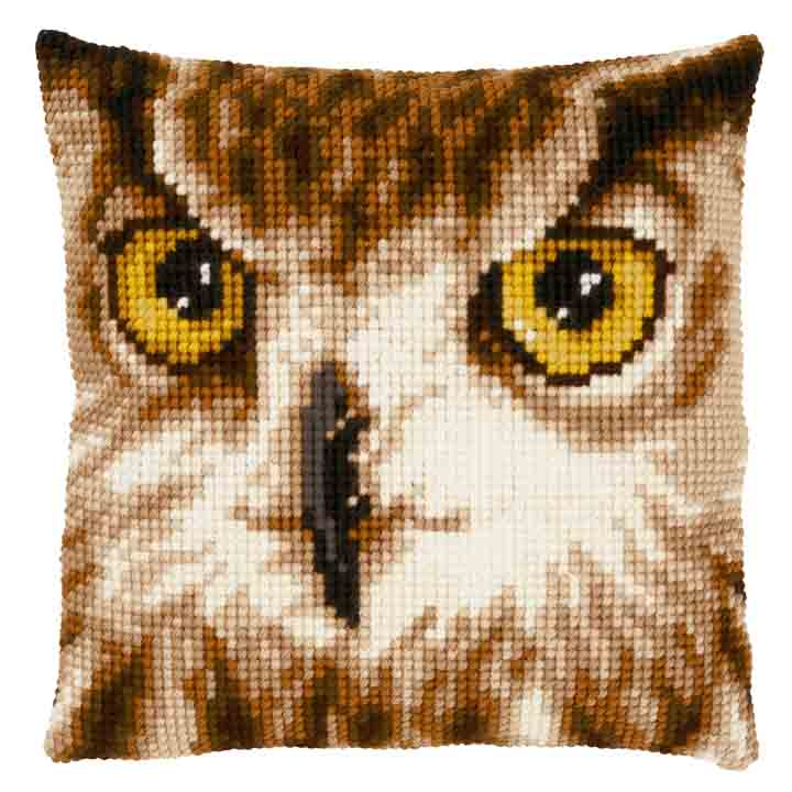 Vervaco Cross Stitch Cushion: Owl Close-Up Animals & Birds CSCK