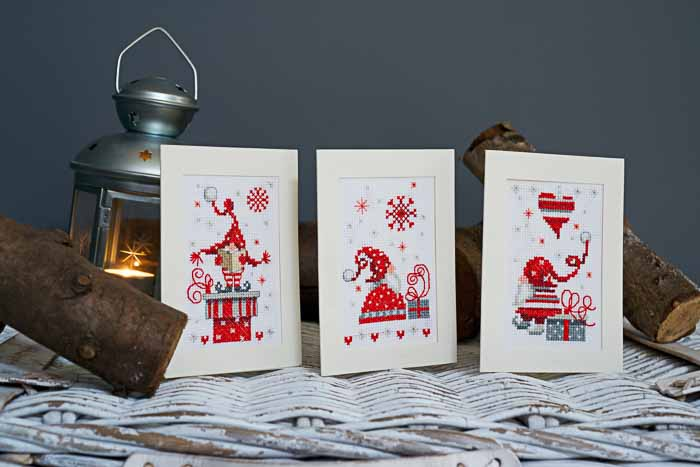 Vervaco Counted Cross Stitch Kit: Greeting Cards: Christmas Gnomes: Set of 3 | PN_0165989 Christmas CSK 2