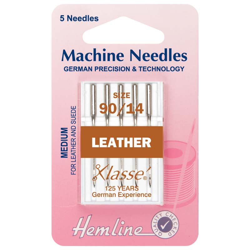 Hemline Sewing Machine Needles: Leather: Medium 90/14: 5 Pieces