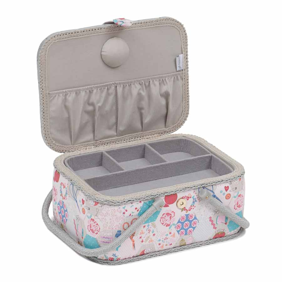 HobbyGift Sewing Box: Oval: Notions | MROV_440 Bird Print Sewing Box 2