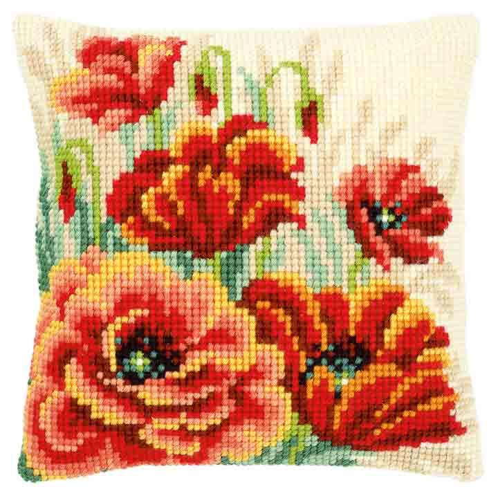 Vervaco Cross Stitch Cushion: Poppies II Flowers & Nature CSCK