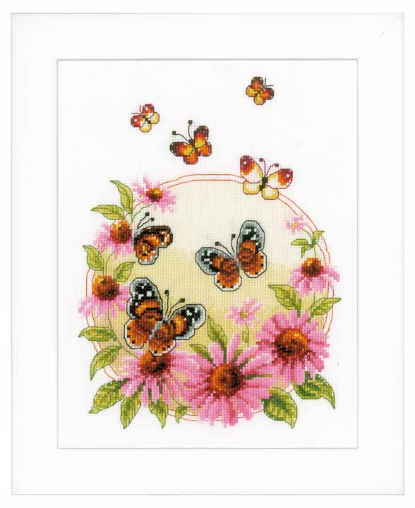 Vervaco Counted Cross Stitch Kit: Echinacea with Butterflies Insects & Bugs CSK