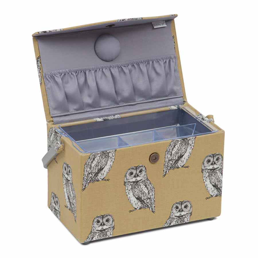 HobbyGift Premium Collection: Fold Over Sewing Box: Owlet | HGFB_452 Bird Print Sewing Box 3