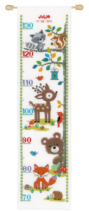Vervaco Counted Cross Stitch Height Chart: Forest Animals II Height Charts CSK