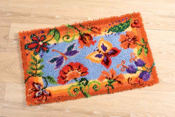 Vervaco Latch Hook Rug: Flowers and Butterflies Latch Hook Rug & Wall Hanging Kit