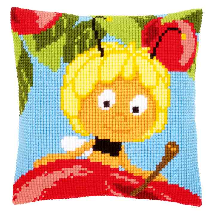 Vervaco Cross Stitch Cushion: Maya on Top of Red Apple Insects & Bugs CSCK