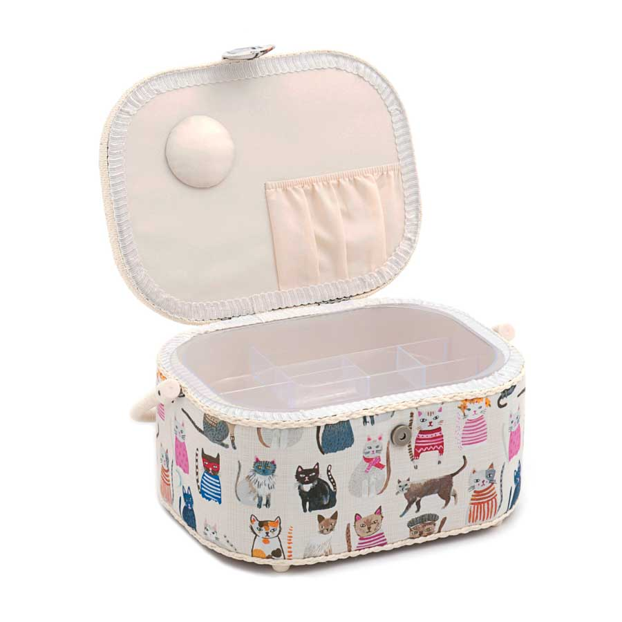 HobbyGift Sewing Box (L): Oval: Cats in Jumpers | HGLO_300  2