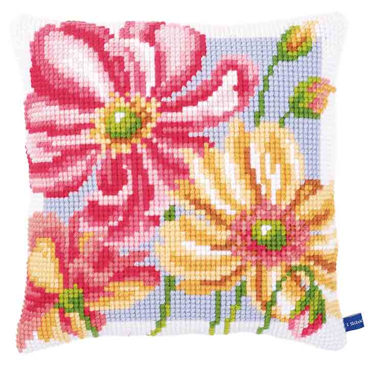Vervaco Cross Stitch Cushion: Colourful Flowers