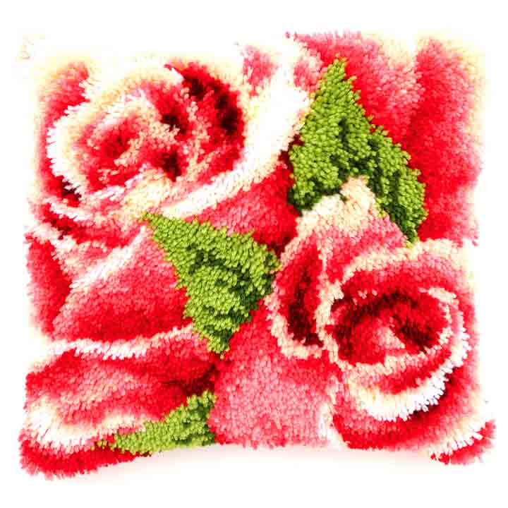 Vervaco Latch Hook Cushion: Pink Roses