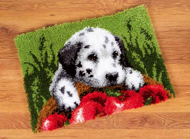 Vervaco Latch Hook: Rug: Dalmatian with Apples Latch Hook Rug & Wall Hanging Kit