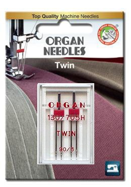 Organ Twin Needles | Size 90 / 3 | 2 Needles Per Pack