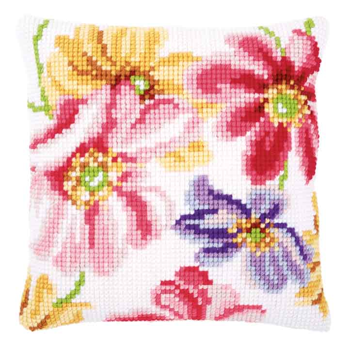 Vervaco Cross Stitch Cushion: Colourful Flowers Flowers & Nature CSCK